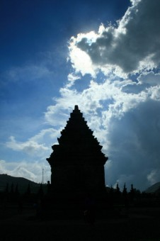 Dramatic clouds over the Dieng temple